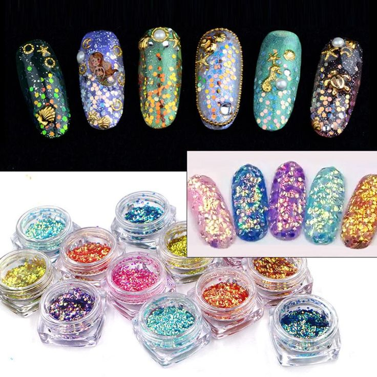 Modelones 0.5g Fish Scale Nail Glitter Powder 12 Colors Colorful Laser Sequins Powder DIY Nail Design Powder Decorations