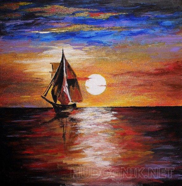 яхта ночью