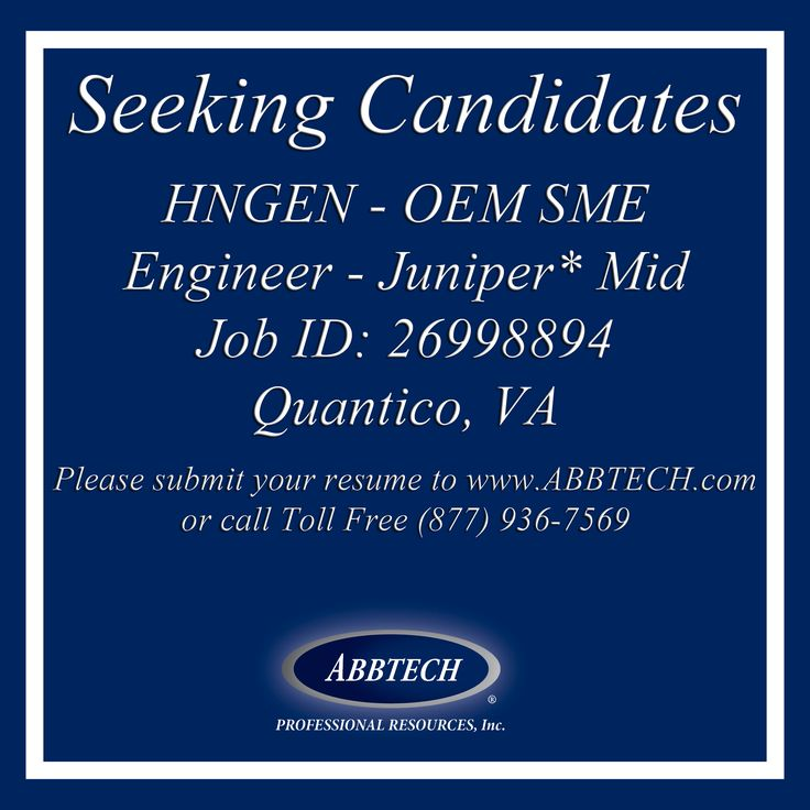 Please submit a resume to www.ABBTECH.com or call toll free 877-936-7569 Follow us on instagram.com/abbtech/ Facebook: facebook.com/ABBTECH/ Twitter: @ABBTECH    #engineer #VA #Quantico #jobopening #jobposting #opportunity #recruiting #jobangels #jobsearch #joblisting #unemployed #resume #needajob #career