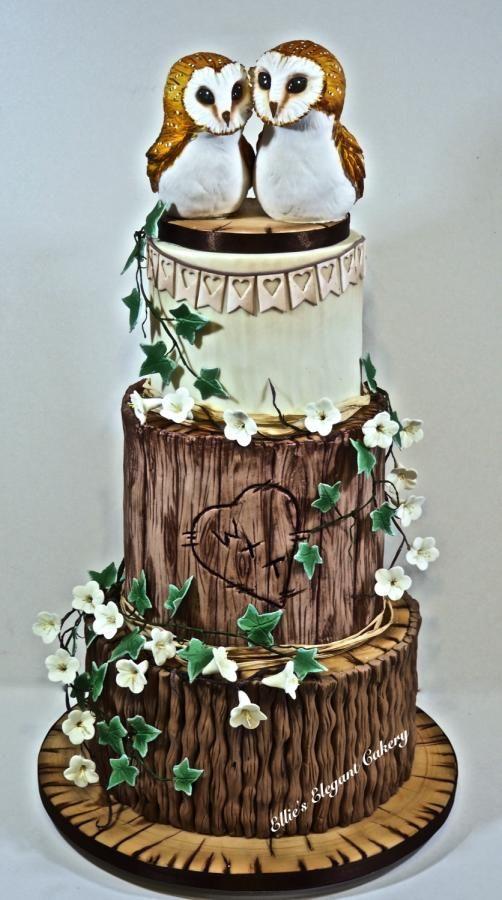 Rustic Owl Wedding Cake by Ellie @ Ellie's Elegant Cakery - http://cakesdecor.com/cakes/266872-rustic-owl-wedding-cake