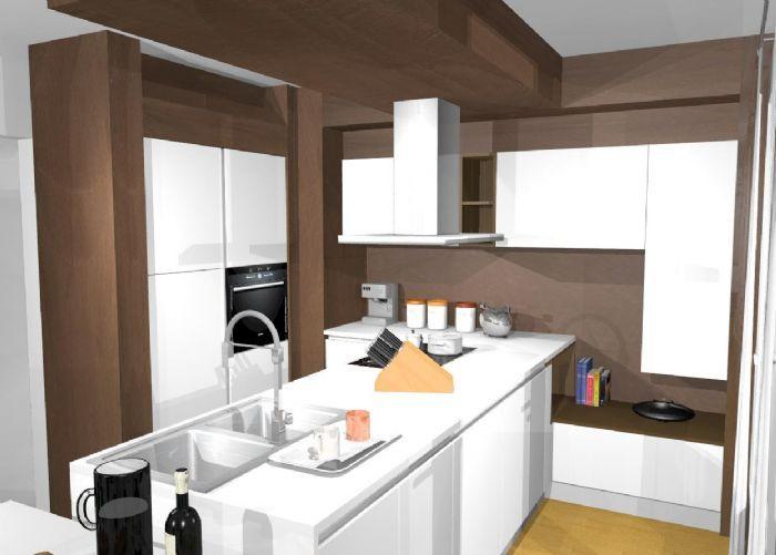 Cucina con penisola in laccato bianco opaco maniglia a gola bianca piano in laminam finitura - Cucina laccato bianco ...