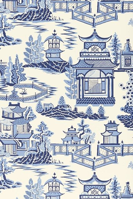 Discover hundreds of wallpaper ideas on HOUSE - design, food and travel by House & Garden including this enlarged willow pattern print - Nanjing by Schumacher