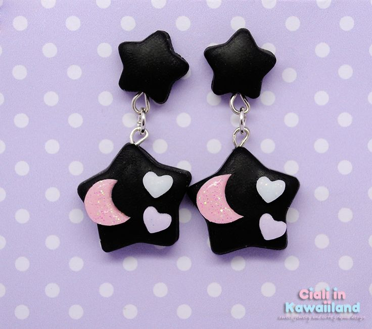 Lovely pastel goth star with a little glittery moon and super tiny hearts suspended on a star stud earrings to give you a creepy cute effect (ノ´▽`)ノ ☆  。♥。・゚♡゚・。♥。 More Info 。♥。・゚♡゚・。♥。   ♫ They 100% handmade using clay (fimo!)  ♫ All pastel pieces have a glitter finish for super cute and s...