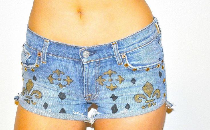 Sexy Denim Blue Saint's Fleur De Les Studded Jean Short shorts Seven daisy dukes #Sevenforallmankind #Denim