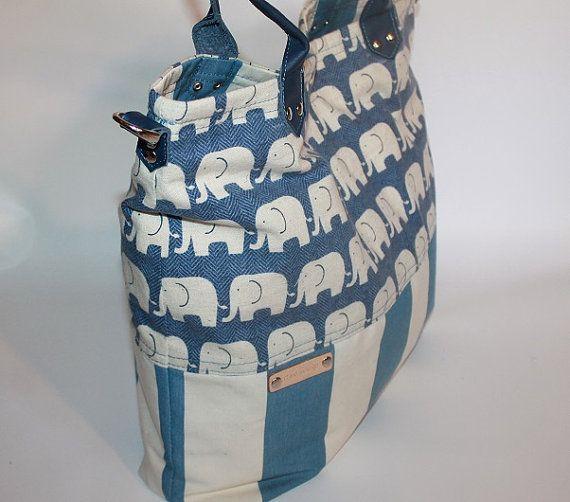 Tasche Canvas Wickeltasche Leder Armband Elefant Tasche von BYildi