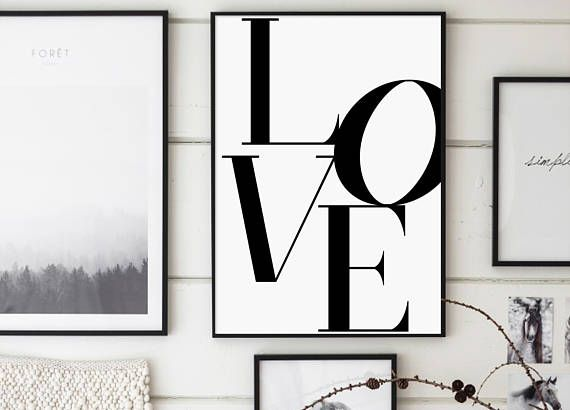 Love Love Print Love Poster Black and White Love Print