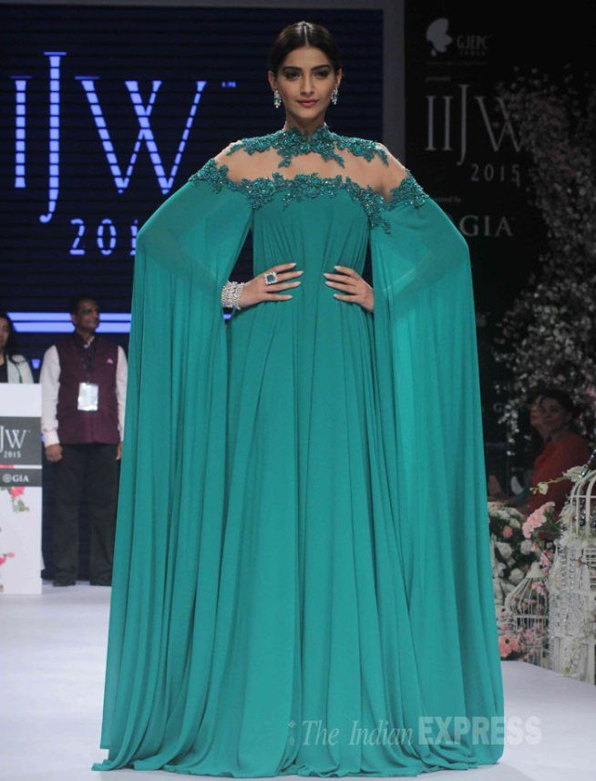 Sonam Kapoor in an emerald green Micheal Costello gown at the India International Jewellery Week 2015.