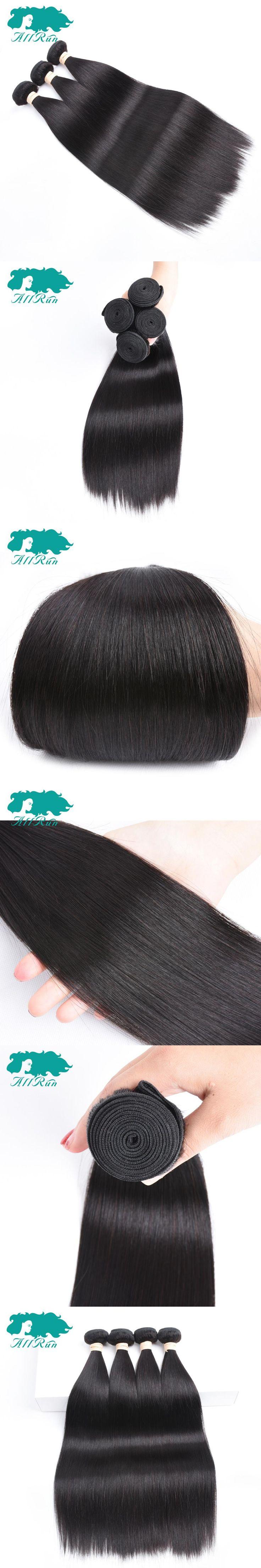Allrun Pre-Colored Malaysian Straight Hair Natural black Straight Malaysian Hair 4 Bundles one Pack 8-26 inch Shedding Free