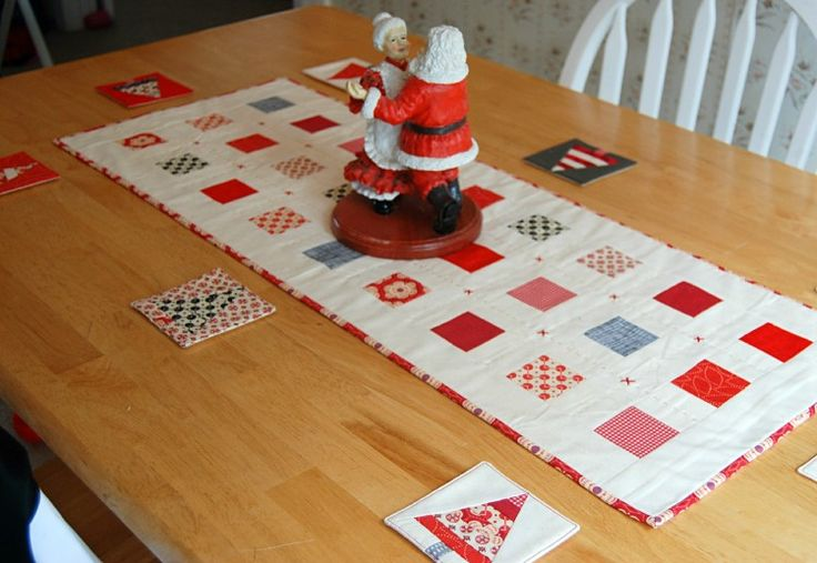 Table Runner looks good with the paper pieced coasters