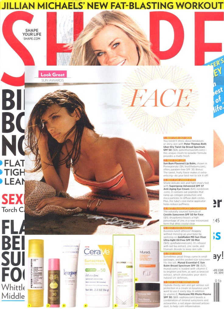Shape touts Sun Visor as BEST OVER MAKEUP: Business lunch alfresco? Reapply without messing up your base by spritzing on Sun Visor - http://www.goldfadenmd.com/sun-visor/. It's infused with red tea extract, zinc oxide, and titanium dioxide to keep skin safe.
