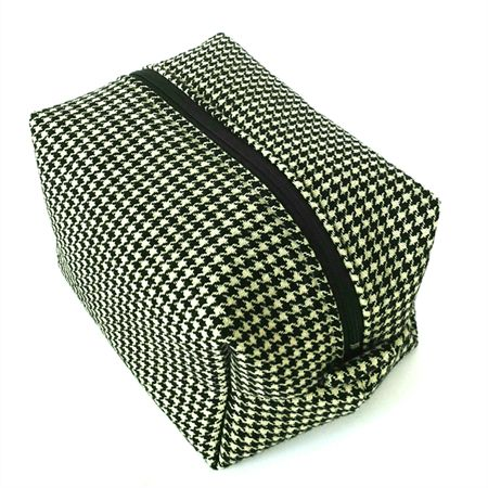 Boxy Toiletry Bag // Makeup Zipper Pouch in Black and White Houndstooth
