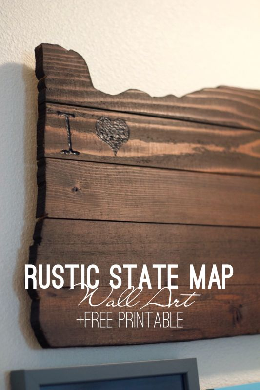 DIY Rustic State Map Wall Art | Create this personalized state map art using pallet wood and a wood burning kit. Click to get the free printable included!