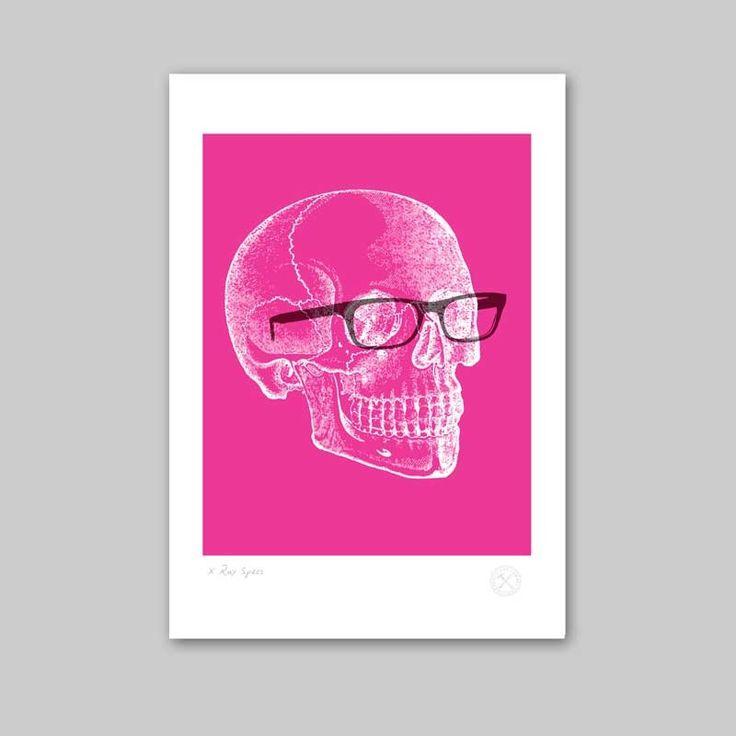 Pink and white skull art.