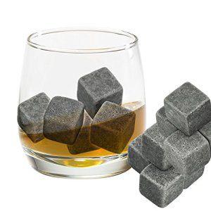 Grenhaven 9pcs Whisky Pierres Ice Cubes Glaçons stéatite Glacons en Pierre avec sac de cordon refroidisseurs de boissons Bière Rocks…