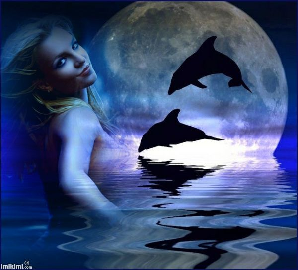 Moonlight Dolphins. You can put your own photo on in this piece of artwork. Click on it and it will take you to imikimi.com, a site where you can make free photo montages.
