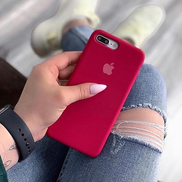 Funda granate silicona logo para iPhone