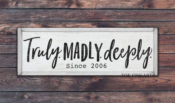 Truly madly deeply sign personalized with date by ToeFishArt