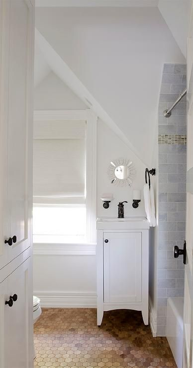 Best 25 small attic bathroom ideas on pinterest attic for Small bathroom with sloped ceiling