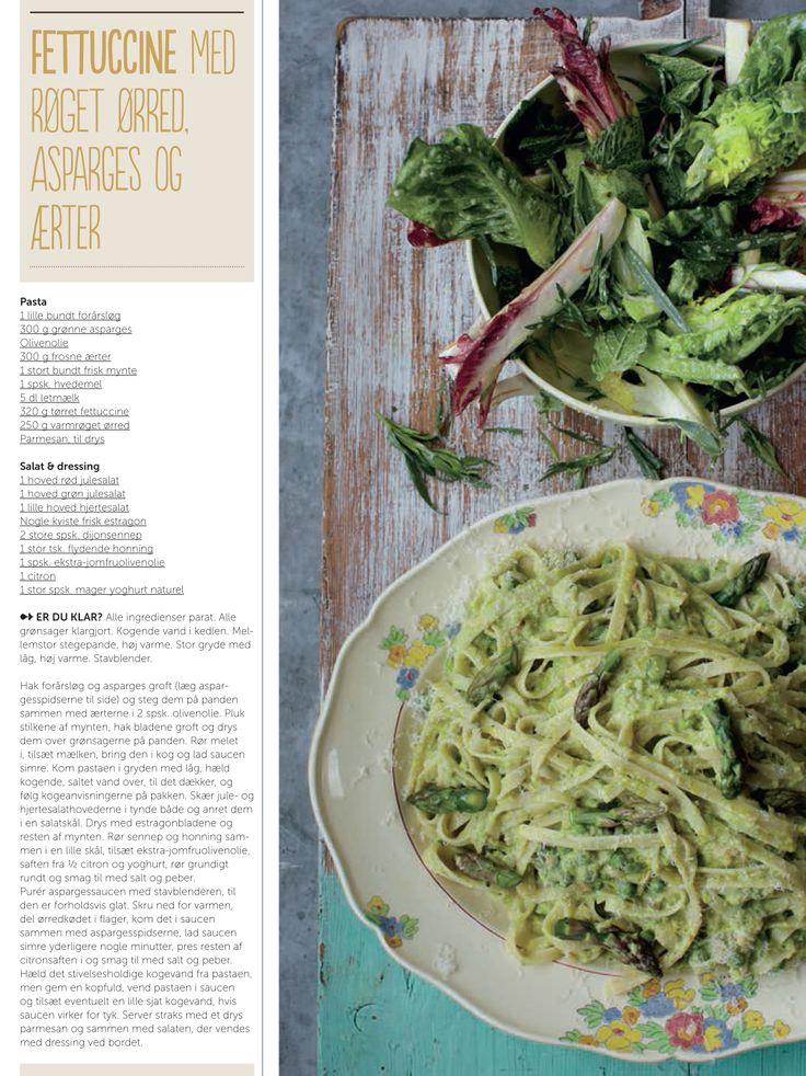 Fettuccine med røget ørred, asparges og ærter - opskrift af Jamie Oliver for Silvan