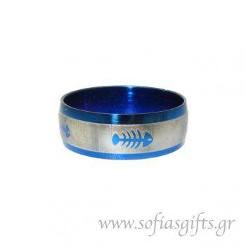 Ανδρικό δαχτυλίδι metal blue ψαροκόκκαλο