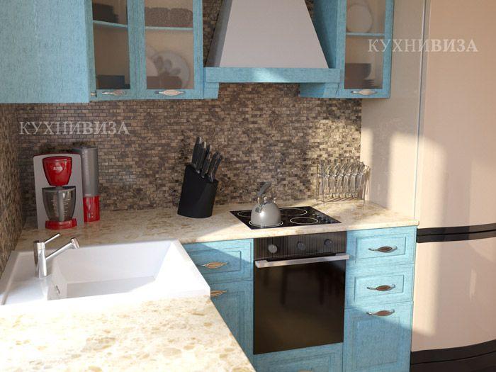 Светло-голубая кухня стиль прованс.