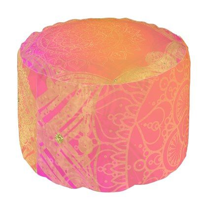 Fuchsia Pink Orange & Gold Indian Mandala Glam Pouf - diy cyo personalize design idea new special custom