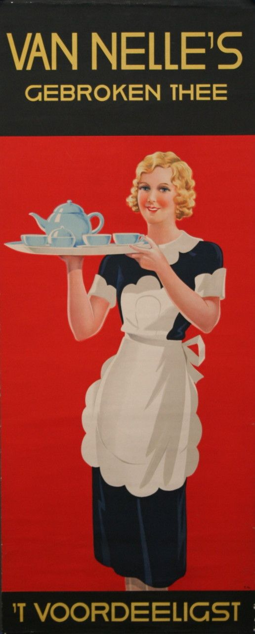 Van Nelle's Gebroken Thee - Dutch advertising tea poster (1920) - Illustration by E. Gaillard