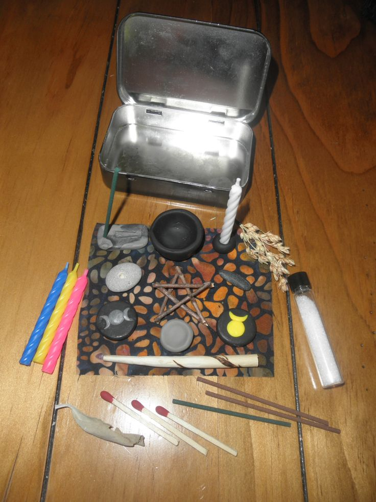 "mysticinwhite: "" rapaciousconsumption: "" My travel altar that I made myself. I keep it in my purse always. the tube is full of salt, and there's a sage leaf by the matches. "" """