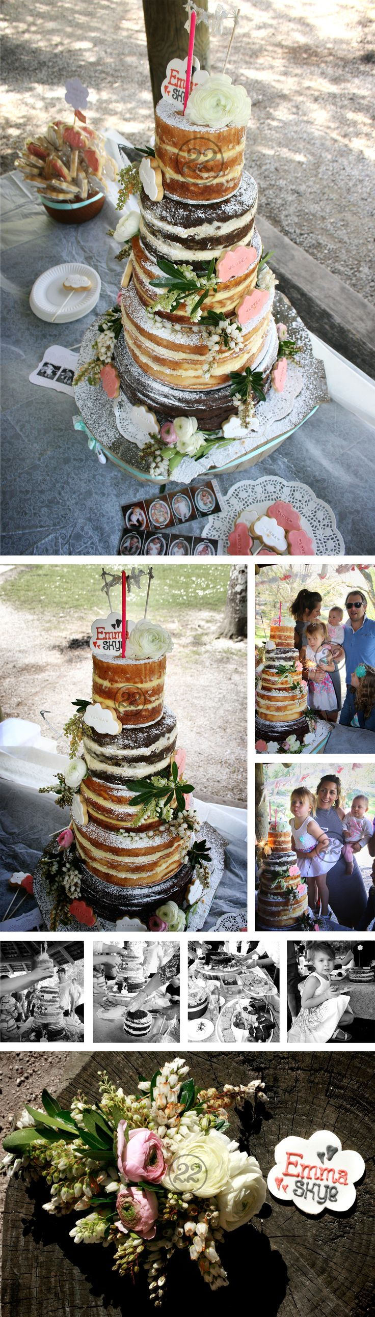 A beautiful rustic, shabby chic 'Sky' party theme cake for a 1st birthday party