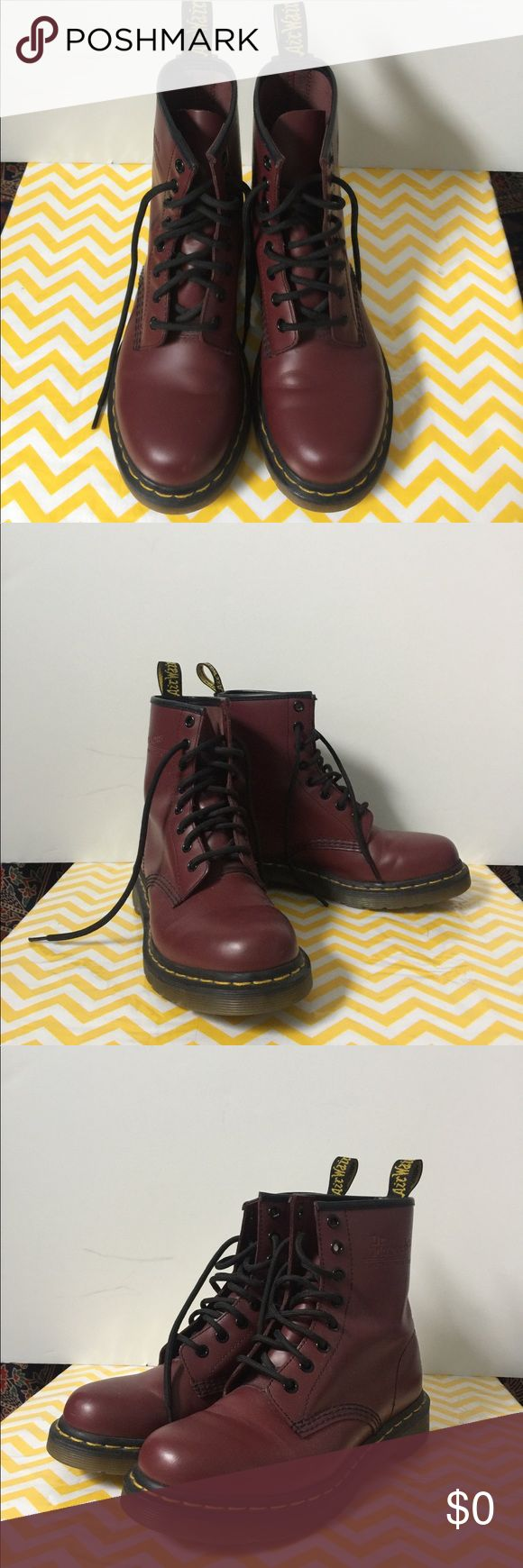 Dr. Marten boots Cherry red smooth color Dr Marten Boots....only worn once. Size 7. Dr. Martens Shoes Ankle Boots & Booties