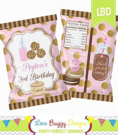 Milk and Cookies Birthday Treat Bag Printable Candy Bag Chip