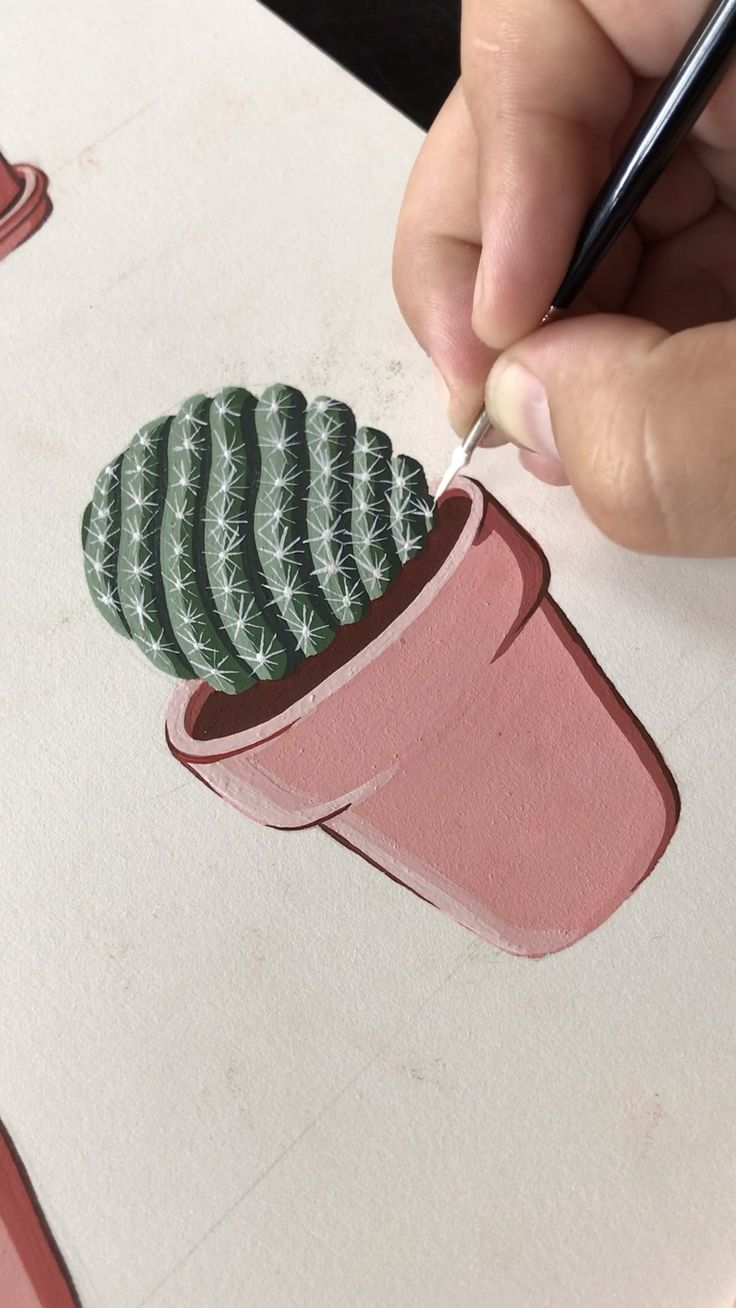 Gouache Painting a Potted Mammilaria Cactus by Philip Boelter