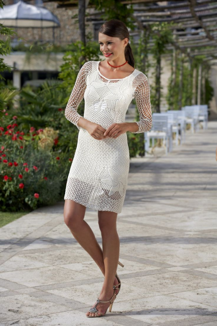 #keyword in #summer ... #WHITE #brunette #lady #whitedress #tbt #spring #summer #lanemondial #filatilanemondial #yarns #cotton #cablè 5 #wonderful #dress #fashion #elegant #woman _jeuxdesdames