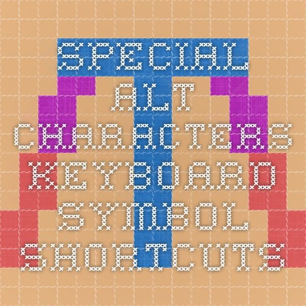 Special Alt Characters - keyboard symbol shortcuts