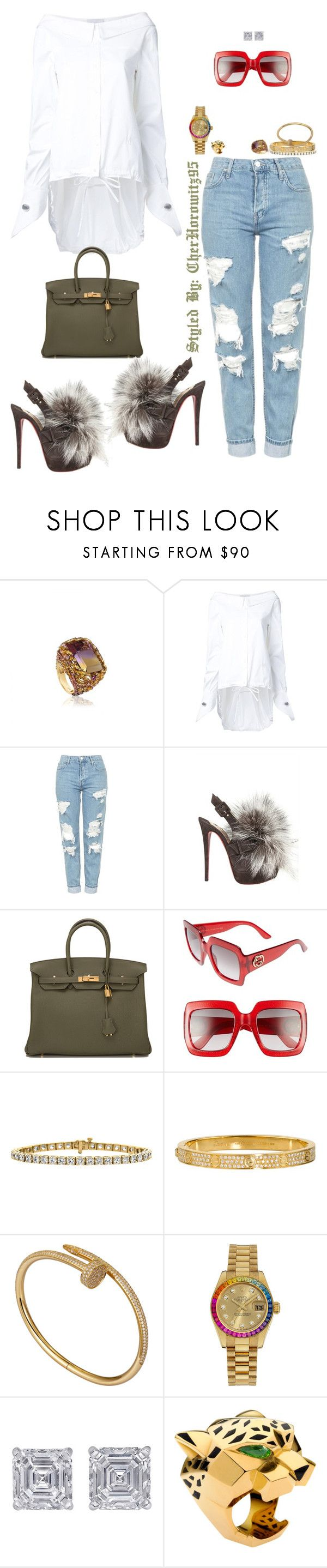 """""""Untitled #799"""" by cherhorowitz95 ❤ liked on Polyvore featuring Monse, Topshop, Christian Louboutin, Hermès, Gucci, Cartier, Rolex and Jewels by Viggi"""