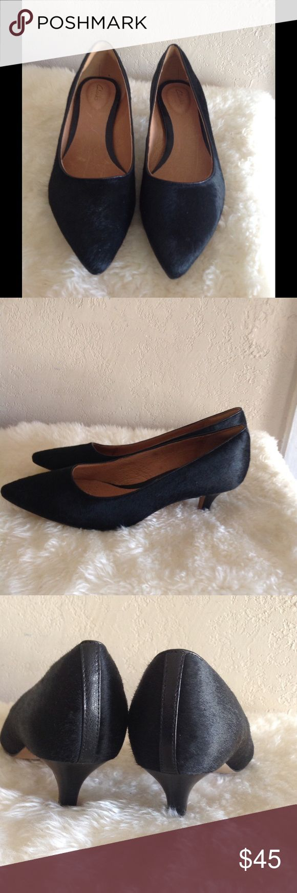 CYBER WEEK DEAL New CLARKS Leather Heels Never worn! Really beautiful shoes. About 2 inches high. Perfect for office or casual edgy look with skinnys. Upper man made leather. Clarks Shoes Heels