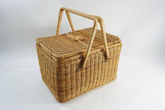 Asian Picnic Basket, Rectangular Vintage Woven Picnic Basket, Toggle Closure,  Vintage Picnic Basket, Handled Basket,  Free Ship