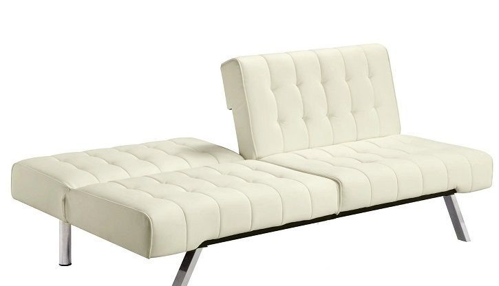 white futon faux leather sofa bed in vanilla cream convertible couch new sofas amando downer. Black Bedroom Furniture Sets. Home Design Ideas