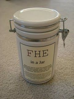 The BEST FHE I have seen in a long time! Family Home Evening in a Jar.... for when you do not plan ahead... and need something fast! Awesome stuff.