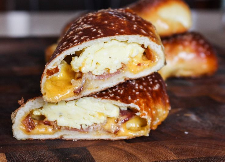 Breakfast-Stuffed Soft Pretzels - homemade soft pretzels stuffed with eggs, bacon, & cheese. These are incredible   Yes to Yolks