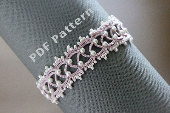 Tatting lace bracelet pdf pattern The Snow Queen by TheKimAndI