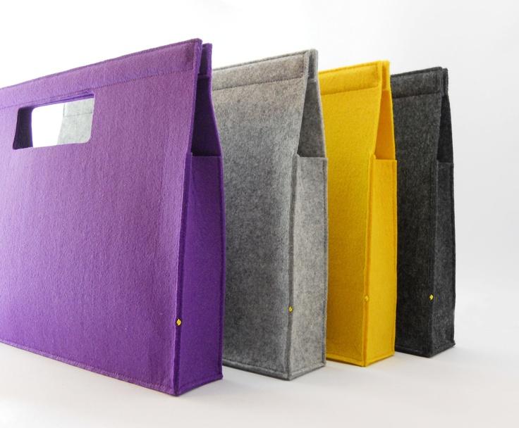 Super stoer deze tassen van vilt. Zelf een tas maken? Gebruik bv het 3mm dik vilt TREND www.bijviltenzo.nl