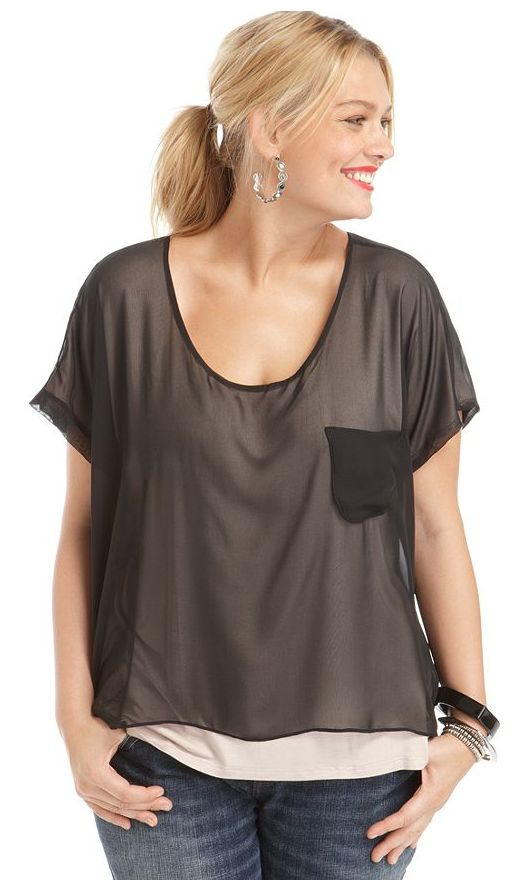 Ing Plus Size Top Short Sleeve Layered Look Sheer Look