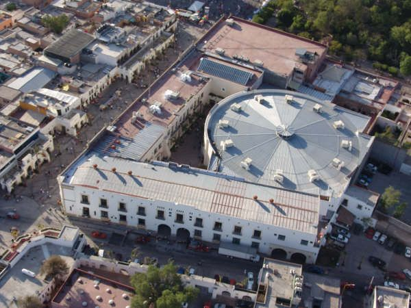 Aerial view of the San Marcos Convention Center. It includes the Casino and the Palenque (the round building).  Aguascalientes