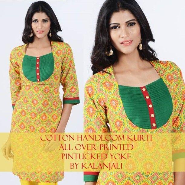 Pintucked yoke kurti by #kalanjali #handloom and #handicrafts #musturd #yellow all over #printed #contrast #yoke #green #pintucks #detailed #contrast #placket #stylized #neckline #kurti long #top #ethnic #chic #bright #color full