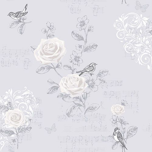 Coloroll - French Grey - Jenny Wren Wallpaper - M0835 - Shabby Chic Chintz