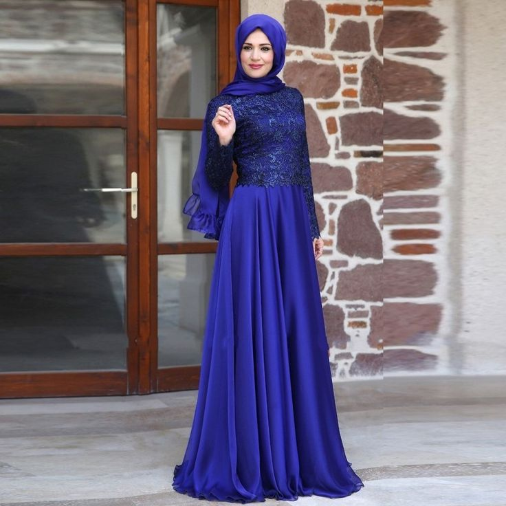 2015 Muslim Evening Dresses A-line Long Sleeves Royal Blue Lace Hijab Islamic Dubai Abaya Kaftan Elegant Long Evening Gown ramadan <3 AliExpress Affiliate's Pin.  Details on this product can be viewed by clicking the VISIT button