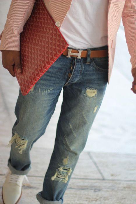 Hermes belt, Goyard portfolio, white T, worn in jeans (tailored), white bucks & the perfect coal blazer. Sold again!