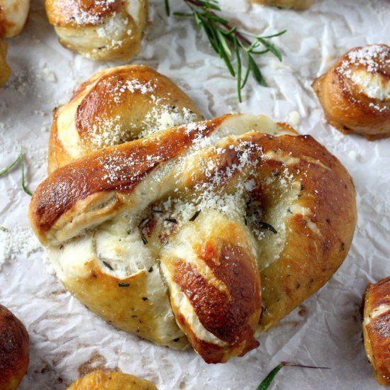 Mozzarella stuffed rosemary and parmesan soft pretzels.