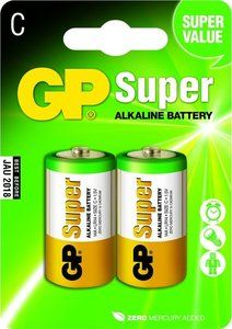 2 stuks GP Super Alkaline C Baby kleine staaf in blisterverpakking.